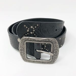 Fossil | Black Tooled Leather Belt Studded Boho M